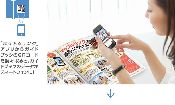 「まっぷるリンク」アプリからガイドブックのQRコードを読み取ると、ガイドブックのデータがスマートフォンに!
