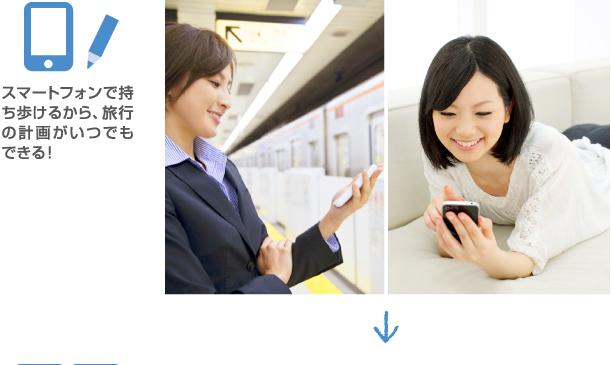 スマートフォンで持ち歩けるから、旅行の計画がいつでもできる!