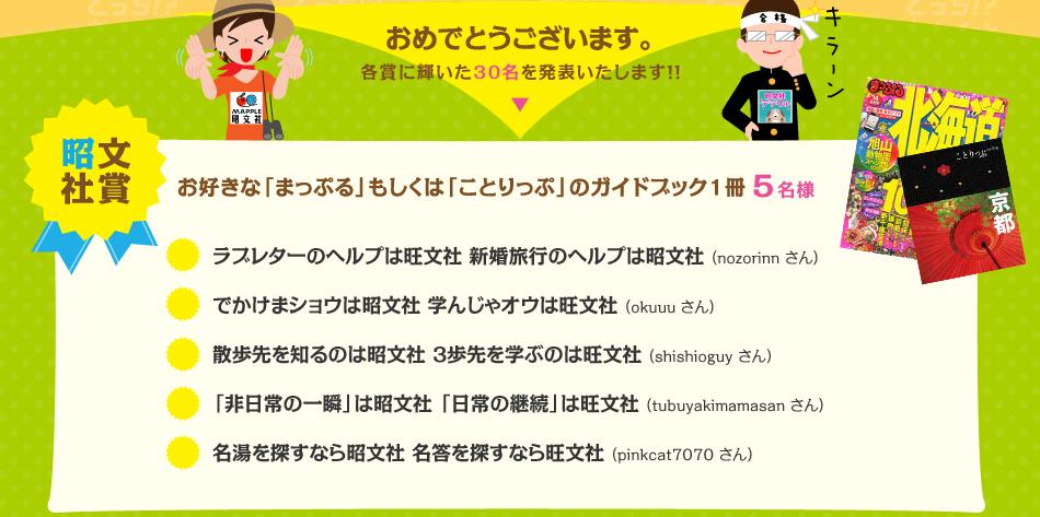 おめでとうございます。各賞に輝いた30名を発表いたします!!昭文社賞
